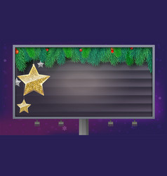 billboard with christmas banner spruce branches vector image vector image