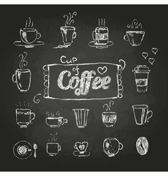 chalk drawings Set of coffee cups vector image vector image