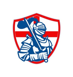 English Knight Hold Sword England Shield Flag vector image