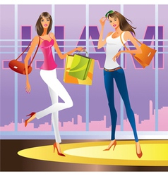 Fashion girls in the mall vector image vector image