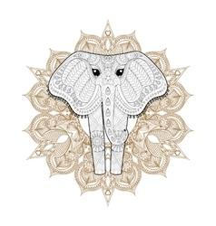 Hand drawn zentangle Ornamental Elephant on vector image vector image