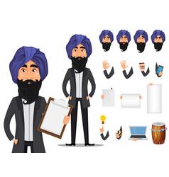 indian business man cartoon character creation set vector image