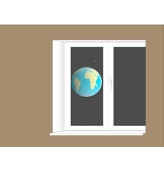 planet Earth outside the window vector image vector image