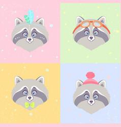 raccoons set vector image vector image