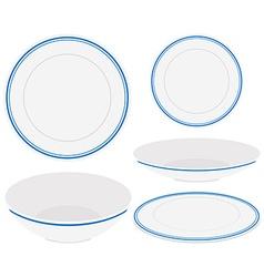 White plates with blue trim vector