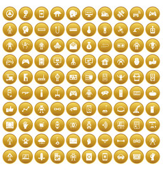 100 robot icons set gold vector