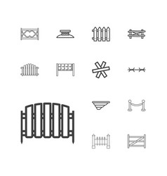 13 fence icons vector