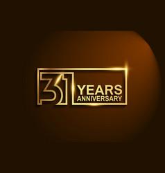31 years anniversary golden design line style vector