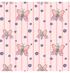 A seamless design with flowers and butterflies vector