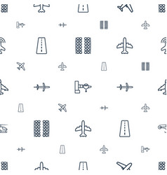Airline icons pattern seamless white background vector