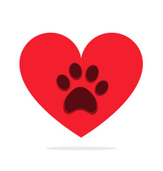 Animal paw in heart isolated on white love animals vector