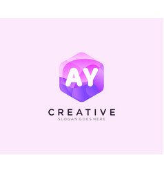 Ay initial logo with colorful hexagon modern vector