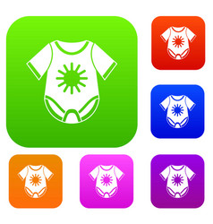baby bodysuit set collection vector image