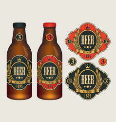 beer labels for two beer bottles vector image