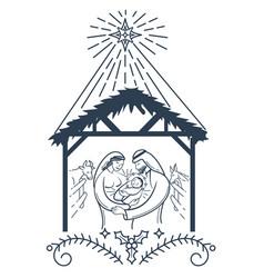 bible scene the nativity black icon vector image