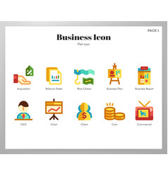 Business icons flat pack vector