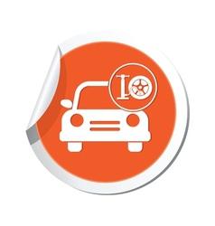 Car with wheel pump icon orange label2 vector