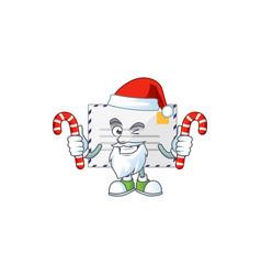 Cartoon character letter as a santa having candies vector