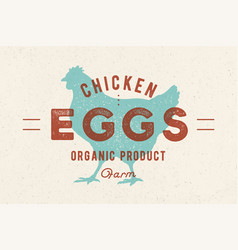 chicken eggs vintage hand drawn logo vector image