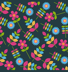 colored flowers decorative pattern background vector image