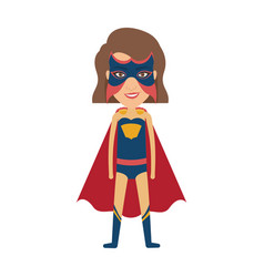 Colorful silhouette with standing girl superhero vector