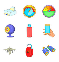 Cordless technology icons set cartoon style vector