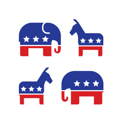 democratic and republican political symbols vector image