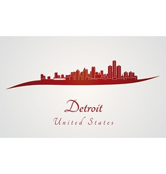 Detroit skyline in red vector image