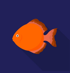 Discus fish icon flat singe aquarium fish icon vector