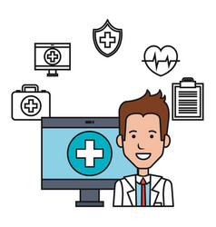 Doctor with computer medical technology design vector