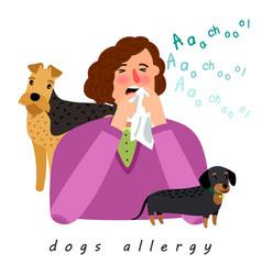 Dog allergy woman vector