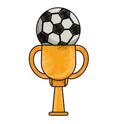 drawing soccer winner cup vector image vector image