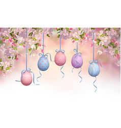 Easter hanging eggs vector