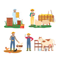 farmers working with animals farming people set vector image