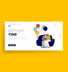 First baby birthday celebration party website vector