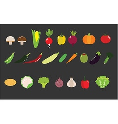 Flat Vegetables Icon set vector