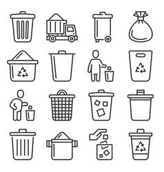 garbage icons set on white background line style vector image
