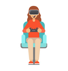 Girl sitting in an armchair and plays vector