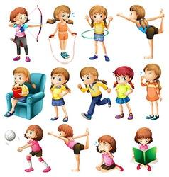 girls doing different activities vector image