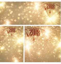 gold 2018 new year backgrounds with clock vector image
