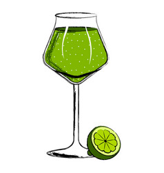 Green cocktail with a lemon slice vector