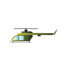 green olive color military war helicopter fight vector image