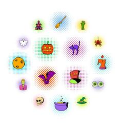 halloween icons comics style vector image