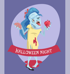 halloween night lady zombie vector image