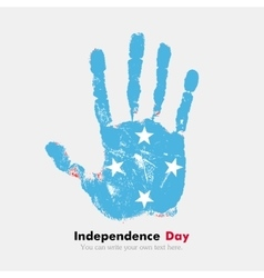 Handprint with the Flag of Micronesia in grunge vector
