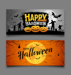 Happy halloween party banners horizontal set vector