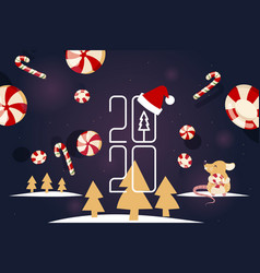 happy new year 2020 winter holidays poster vector image
