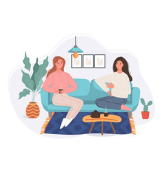happy two women sitting in couch drinking vector image