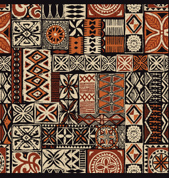 hawaiian style tapa tribal fabric vector image