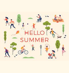 hello summer banner poster or card template vector image